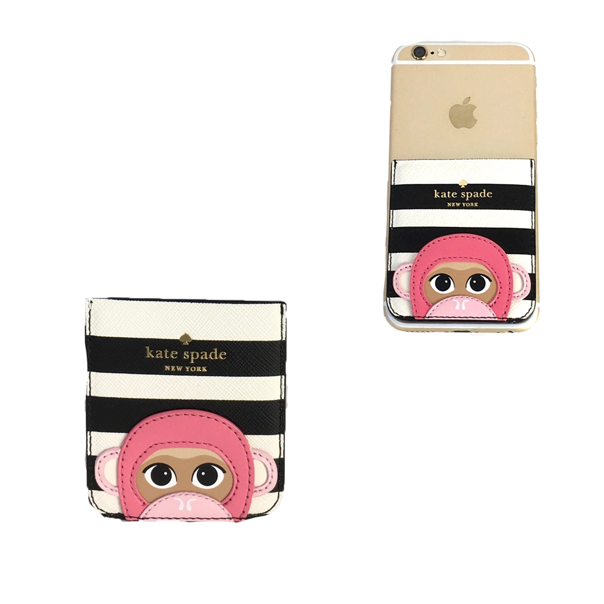 low priced cd2b0 c53d0 Kate Spade Monkey Applique Sticker Phone Pocket, Multi