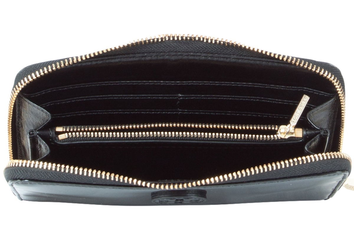 cbf729cd4 Tory Burch Patent Leather Stacked Logo Continental Zip Wallet