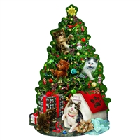 Kitty Cat Playground 1000 Pc Christmas Tree Shaped Jigsaw Puzzle