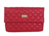 St. John Quilted Nappa Leather Fold Over Clutch