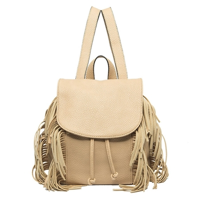 Melie Bianco Emma Vegan Leather Fringe Mini Backpack