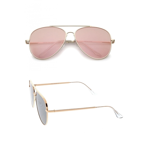 60MM Mirrored Pink Flat Lens Aviator Sunglasses