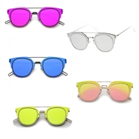 Miami Ultra Slim Wire Frame Mirrored Flat Lens Sunglasses