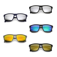 Shady Soft Rubberized Square Mirror Lens Sunglasses