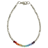 Zad Jewelry Rainbow Sparkle Beaded Anklet Bracelet