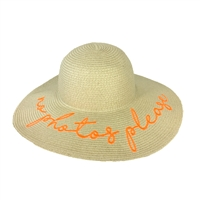 No Photos Please Packable Straw Sun Hat