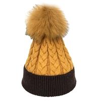 Alex Max Color Block Cable Knit Fur Pom Pom Beanie Hat, Butterscotch/Cafe
