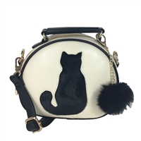 Fashion Culture Kitty Cat Silhouette Dome Crossbody,