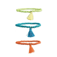 Zad Jewelry Beaded Stretch Bracelets w Tassel Set of 3