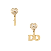 Betsey Johnson Pave Heart I Do Earrings