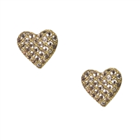 Betsey Johnson Sweethart Pave Heart Stud Earrings