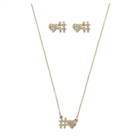 Blue by Betsey Johnson Love Letters Hashtag Necklace & Stud Earrings Set