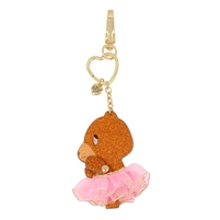 Betsey Johnson Glitter Bear Tutu Movable Keychain FOB Bag Charm