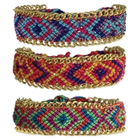 Zad Jewelry Woven Friendship Bracelets with Chain Trim