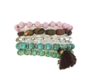 Zad Jewelry Set of 5 Stone & Tassel Stretch Bracelets