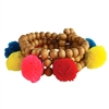 Aruba Pom Pom Wood Beaded Stretch Bracelet Set