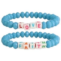 Love & Faith Beaded Stretch Bracelets Set of 2