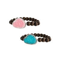Druzy Stone Wood Beaded Stretch Bracelet Set