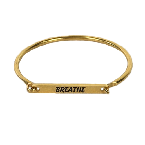 Breathe Stamped Word Latch Bangle Bracelet