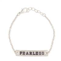 Zad Jewelry Have No Fear Fearless Engraved Bar Bracelet