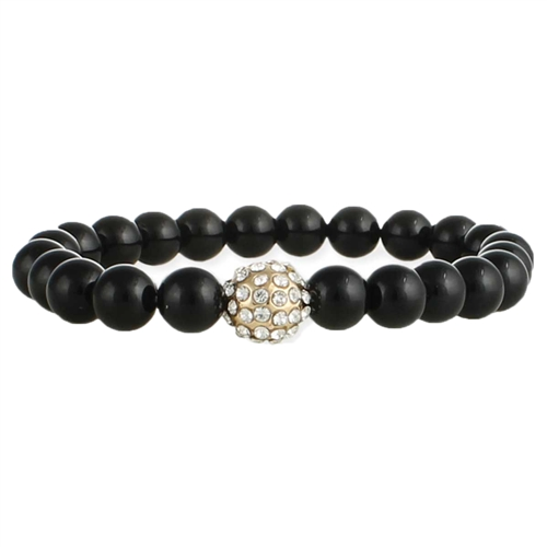 Zad Jewelry Black Agate & Pave Beaded Stretch Bracelet