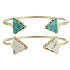 Zad Jewelry Triangle Howlite Stone Open Cuff Bracelets Set of 2