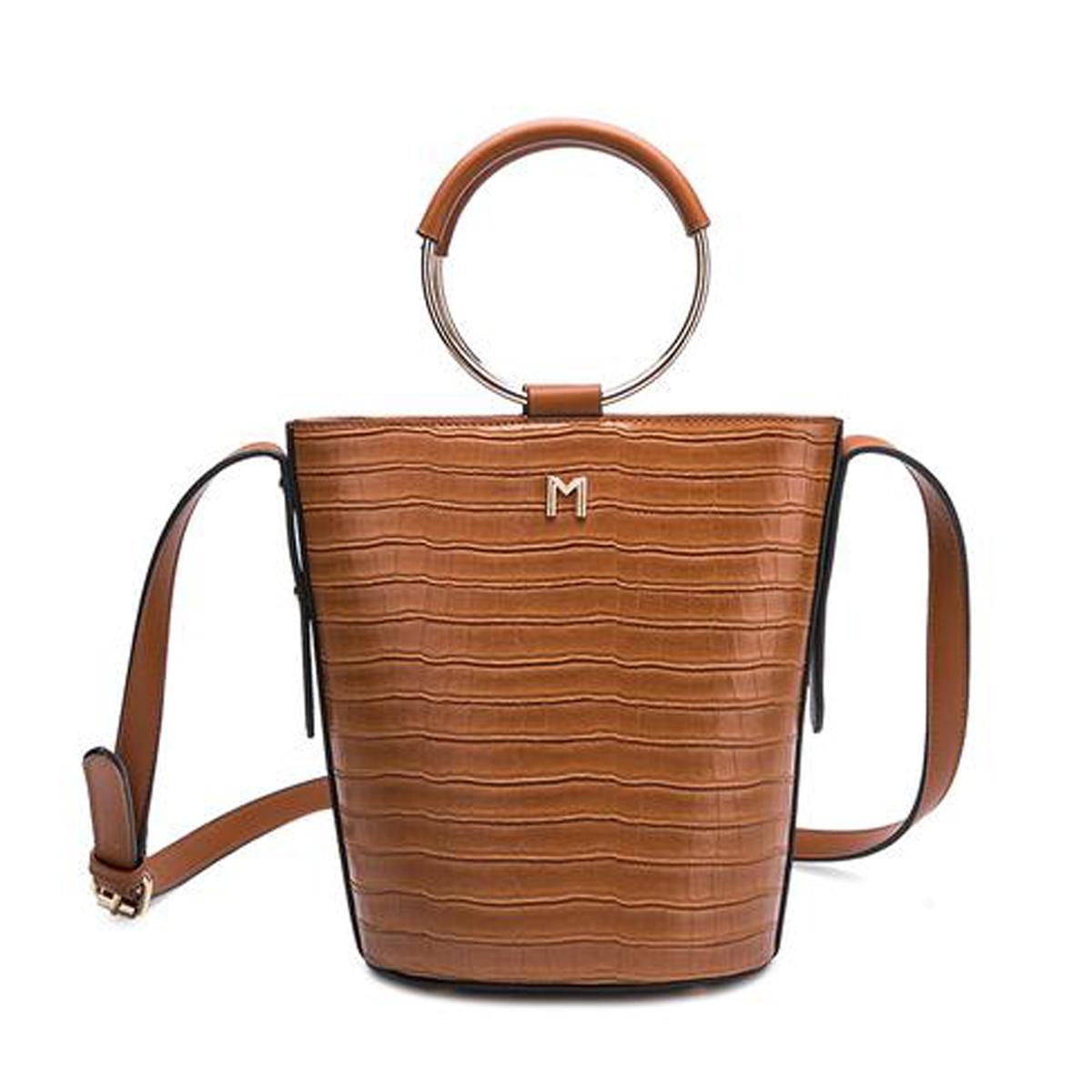 Melie Bianco Stella Croco Vegan Leather Ring Bucket Bag Tan
