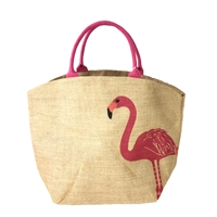 Flamingo Burlap Oversized Tote Beach Bag