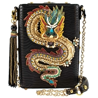 Mary Frances Dragon Fire Beaded Vegan Leather Crossbody