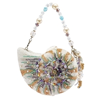 Mary Frances Disney Mermaid Dreams Beaded Seashell Shell Handbag