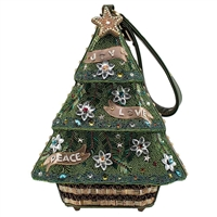 Mary Frances Trim The Tree 3D Christmas Tree Wristlet Handbag