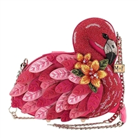 Mary Frances Ruffle My Feathers Flamingo Beaded Crossbody Bag