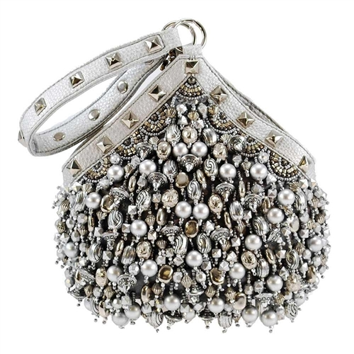 Mary Frances Platinum Persuasion Beaded Wristlet Evening Bag