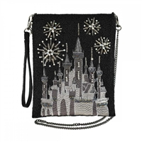 Mary Frances Disney Princess Sleeping Beauty Castle Beaded Crossbody, Glittering Sky Black