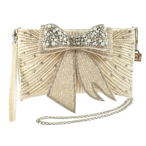 Mary Frances Cherish Crystal Bow Convertible Clutch Bridal Bag