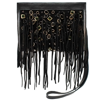 Mary Frances Savage Fringe Suede Crossbody Bag