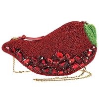 Mary Frances Hot Stuff Chili Pepper Beaded Clutch Crossbody Bag