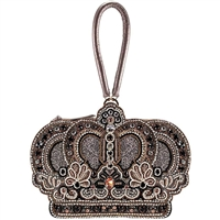 Mary Frances Queen Crown Jewels Beaded Leather Wristlet