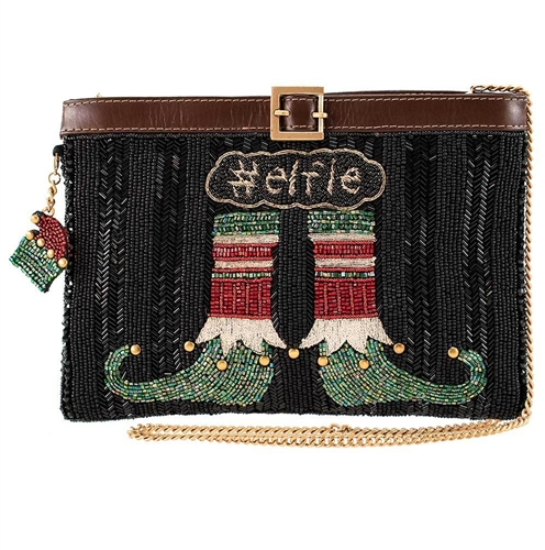 Mary Frances Holiday Elfie Elf Stockings Beaded Convertible Clutch