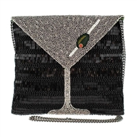 Mary Frances Straight Up Martini Beaded Crossbody Clutch