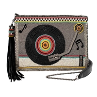 Mary Frances Take A Spin Vintage Record Player Beaded Crossbody