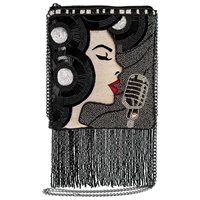 Mary Frances Motown Diva Beaded Fringe Crossbody Clutch