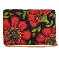 Mary Frances Wallflower Poppy Flowers Beaded Clutch Crossbody Bag