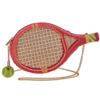Mary Frances Courtside Tennis Racquet Beaded Crossbody Bag