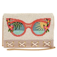 Mary Frances Rose Colored Glasses Shades Beaded Clutch Crossbody Bag