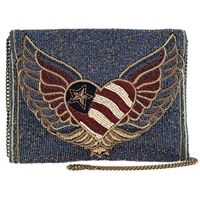 Mary Frances Liberty Patriotic Heart Beaded Clutch Crossbody Bag