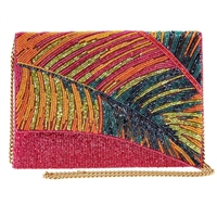 Mary Frances Hot Tropics Palm Beaded Clutch Crossbody Bag