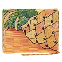 Mary Frances Pineapple Grove Beaded Clutch Crossbody Bag