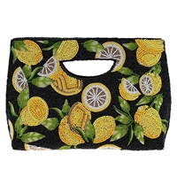 Mary Frances Zesty Lemons Beaded Handheld Clutch