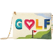 Mary Frances Golf Course Lover Beaded Convertible Clutch Crossbody